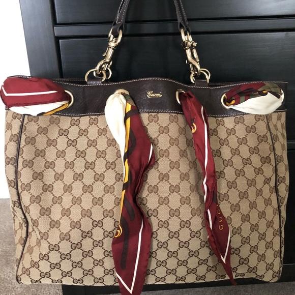 66660b8659a691 Gucci Handbags - Gucci Positano Scarf Tote(Large)
